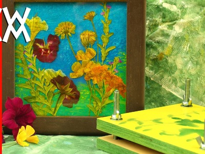 Make a flower press and dried flower picture. Easy!