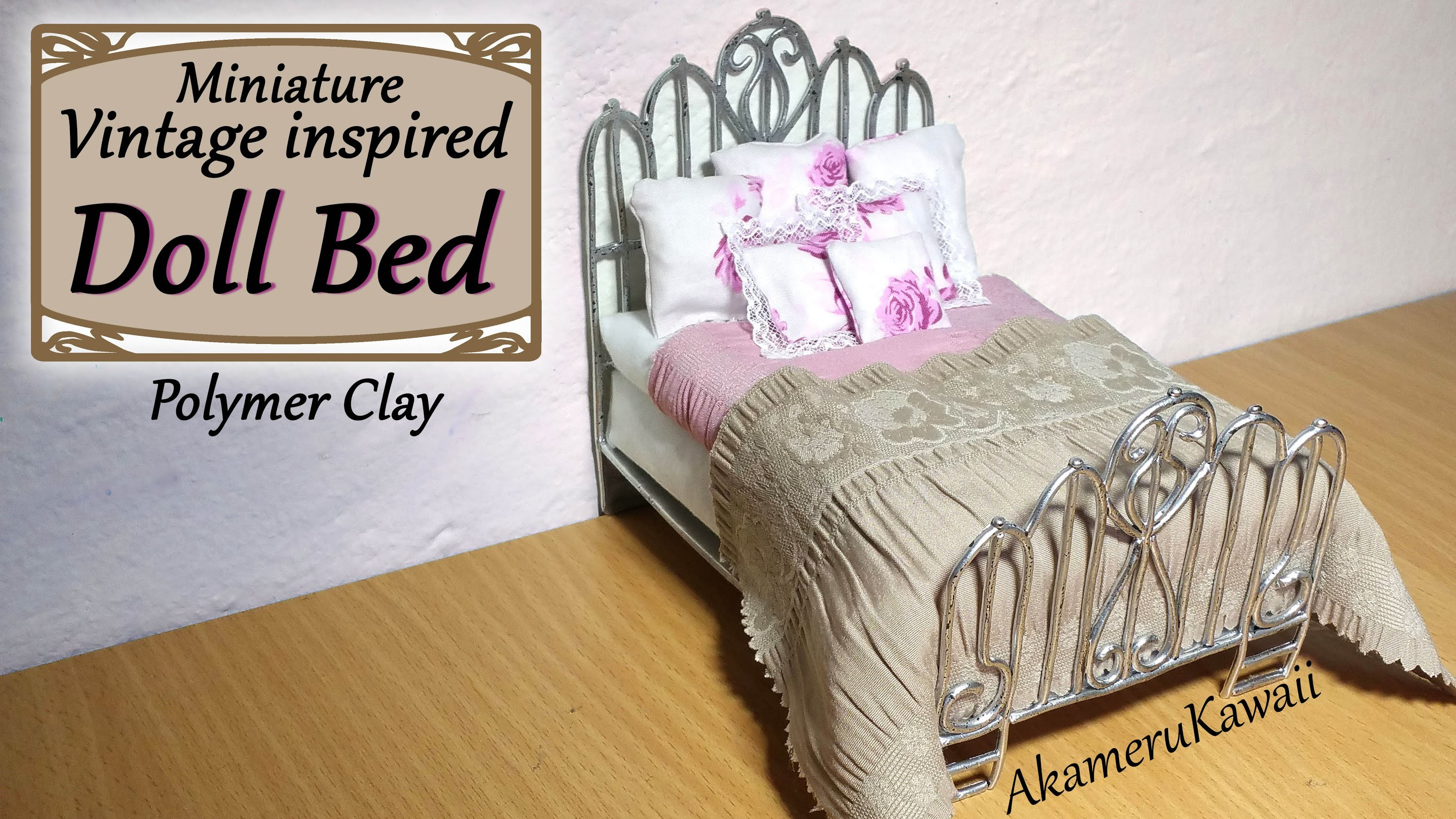 Miniature Doll Bed - Polymer Clay.Fabric Tutorial