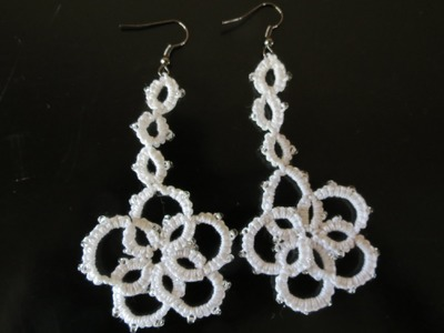Needle Tatting flower earrings