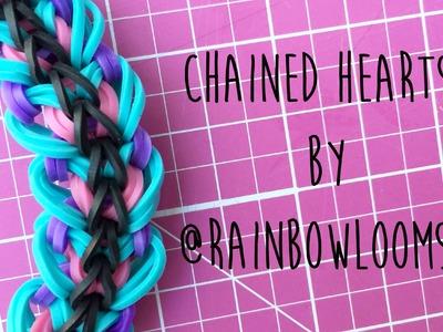 Rainbow Loom Chained Hearts by @RainbowLoomSG 4 peg tutorial