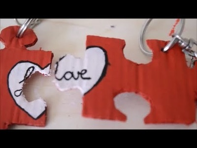 DIY: Puzzle Piece Keychain; LOVE-themed