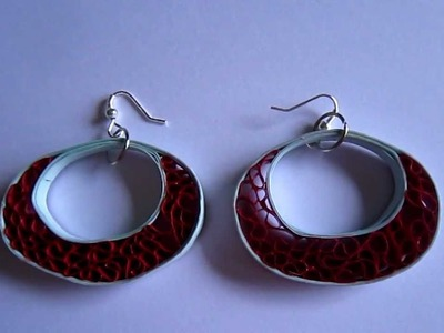 Handmade Jewelry - Beehive Quilling Paper Earrings (Blue-Maroon)