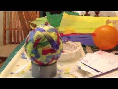Making a colorful paper mache bowl with tissue paper