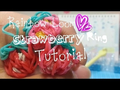 Rainbow Loom Strawberry ring tutorial {Crafty Mints}-Inspired by PaperPastel's Strawberry charm!