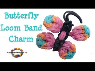 Butterfly Loom Band Charm - Made without Rainbow Loom