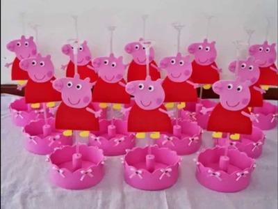 Centro de Mesa Festa Infantil tema Peppa Pig (centerpiece for children's party)