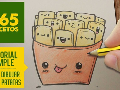 COMO DIBUJAR UN PAQUETE DE PATATAS KAWAII PASO A PASO - Dibujos kawaii faciles - How to draw a chips
