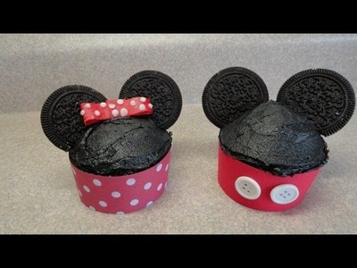 Decorating cupcakes #71:  Mickey and Minnie Mouse (two variations)