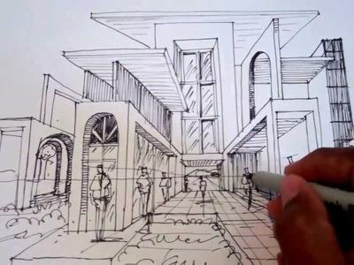 Dibujar usando un punto de fuga para la perspectiva Arq.  David Sosa