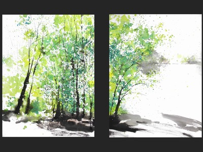 Diptych watercolor painting:  Spring Trees