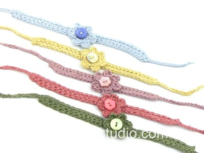 DROPS Crocheting Tutorial: How to work a bracelet with flower