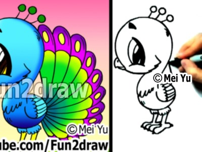 Fun2draw - How to Draw a Cartoon Peacock - Draw Animals - Cute Art
