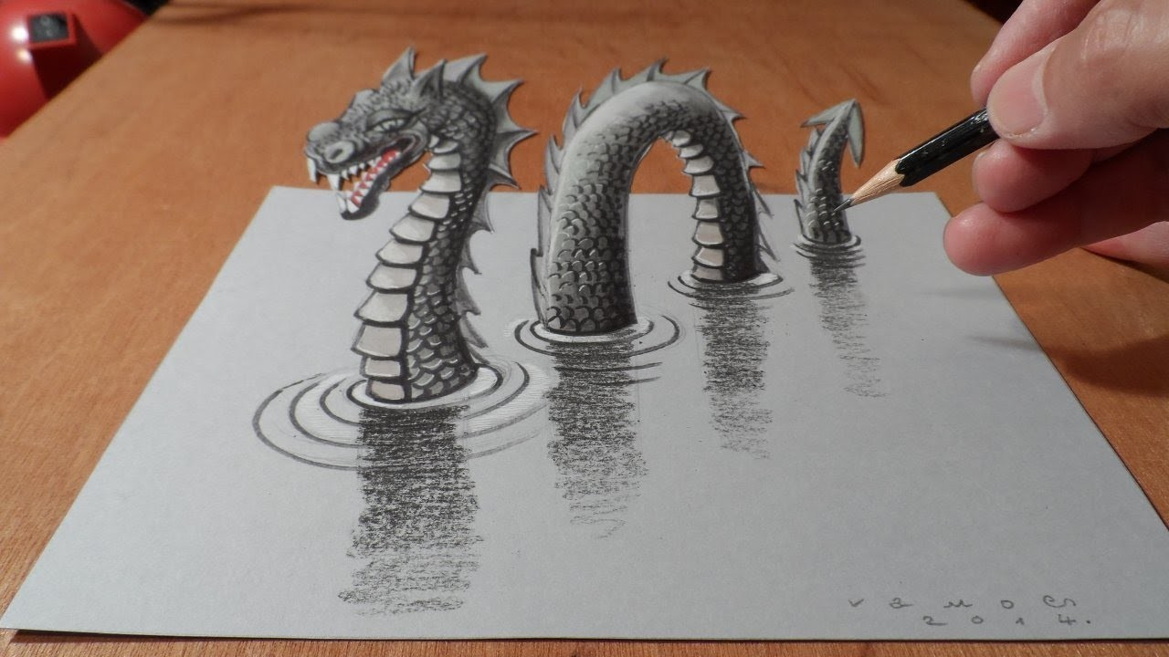 How I Drew a 3D Loch Ness Monster