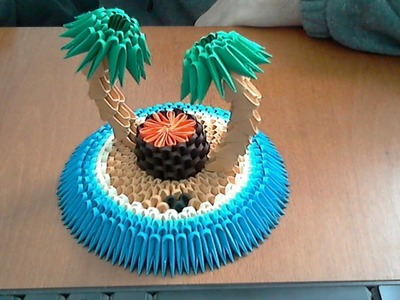 How to make 3d origami tropical island part1