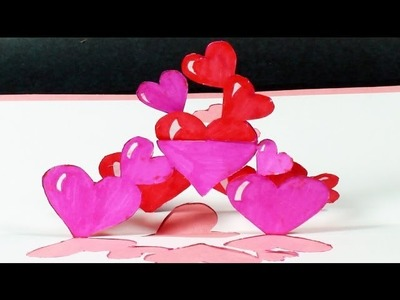 How to make a Tangled Hearts Pop Up Card | FREE Template - (Kirigami) Valentine's Day Greeting Card!