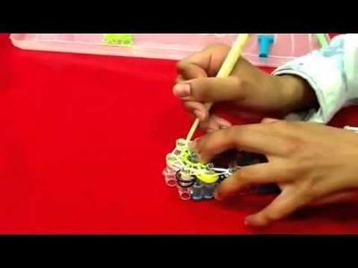 How to make double crossed double starburst on a single loom RainbowLoom . gagner de rainbow loom