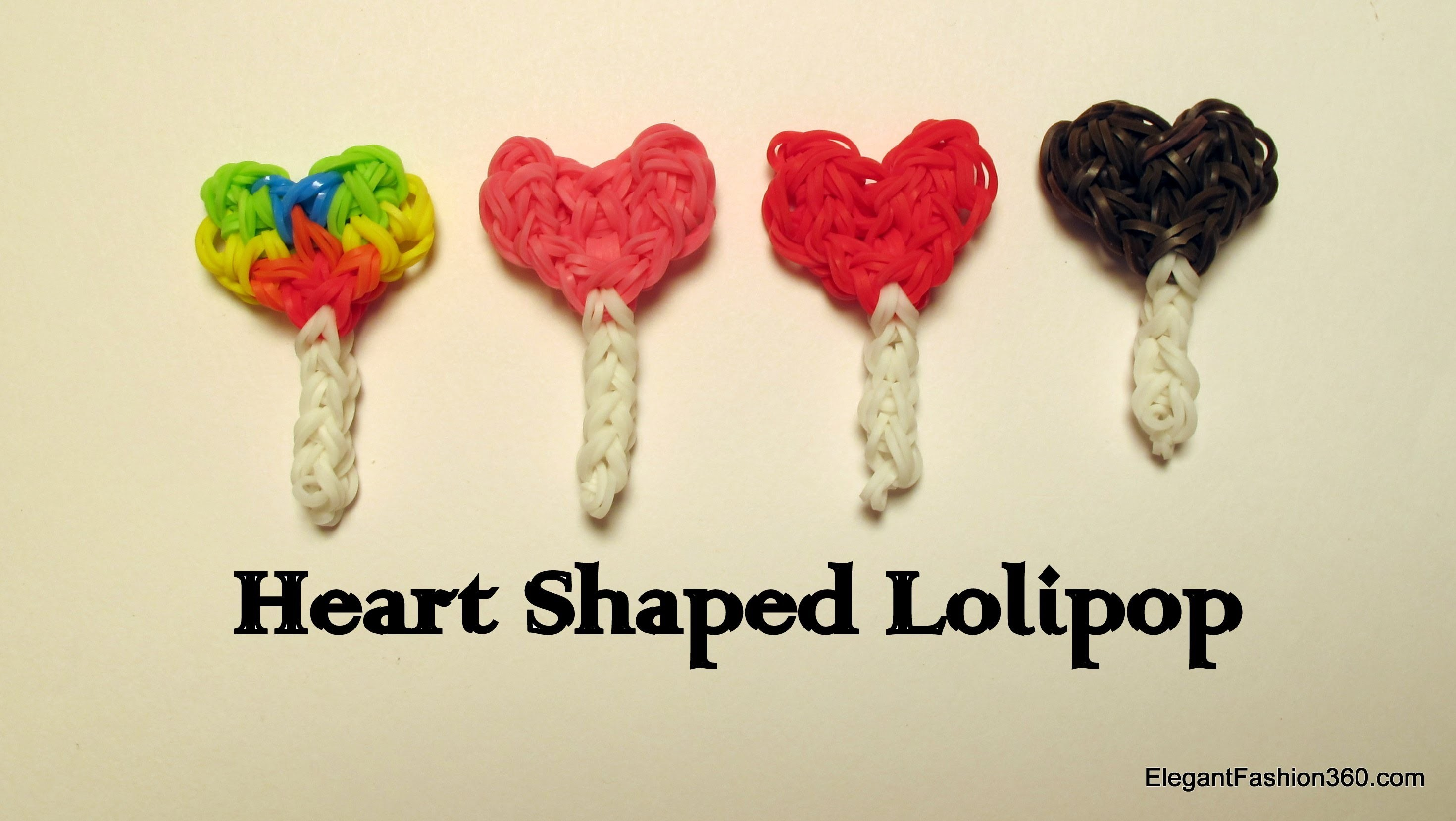 Rainbow Loom Heart Shaped Lollipop Charm - How to - Valentine's Day