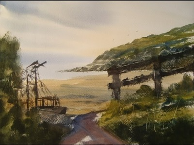 Watercolour painting demo from a photo I took of Brean Down
