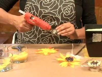 Cómo hacer un arreglo de girasoles de tela con chocolates