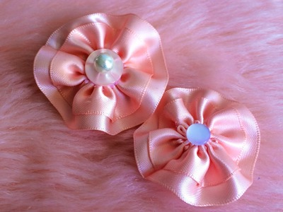 DIY: How to make a simple circular ribbon flower hair clip.