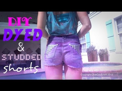 DIY Ombre Distressed Studded Shorts!
