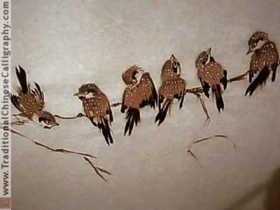 Eight Lucky Chinese Sparrows for 2009; Chinese Bird and Flower Painting. Yang O-shi inspired.