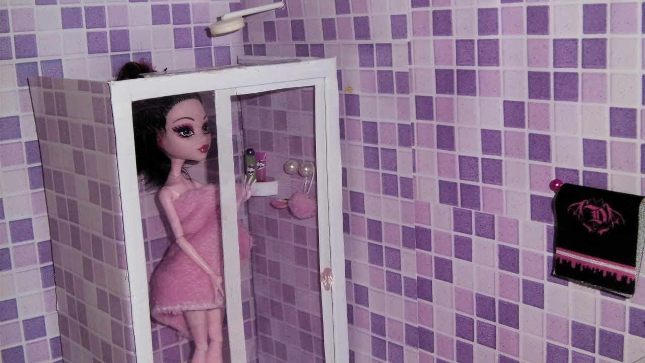 How to make a bathroom (Shower Box) for doll Monster High, Barbie, etc
