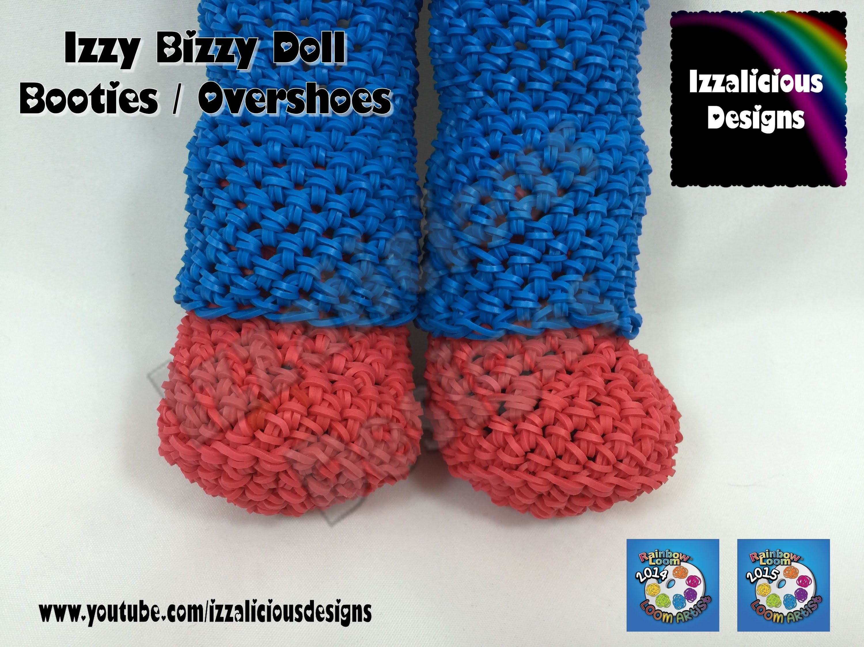 Loomigurumi Izzy Bizzy Doll - Boot Shoe Covers - hook only - amigurumi with Rainbow Loom Bands