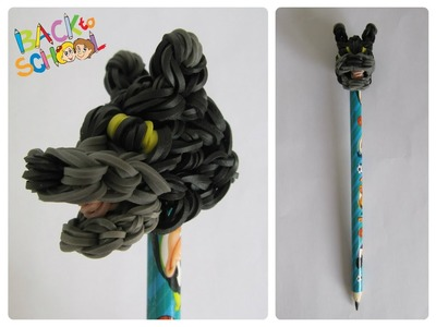Rainbow Loom bear pencil topper Loombicious