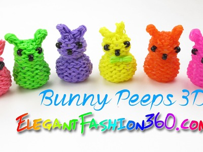 Rainbow Loom Marshmallow Bunny Peeps 3D Charm - How to Loom Bands