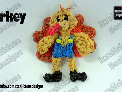 Rainbow Loom (Thanksgiving) Turkey Action Figure.Charm - © Izzalicious Designs 2014