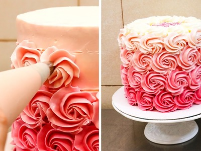 Swirl Buttercream Rosettes Cake - How To by CakesStepbyStep