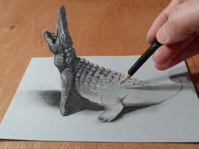 Trick Art, Drawing 3D Crocodile