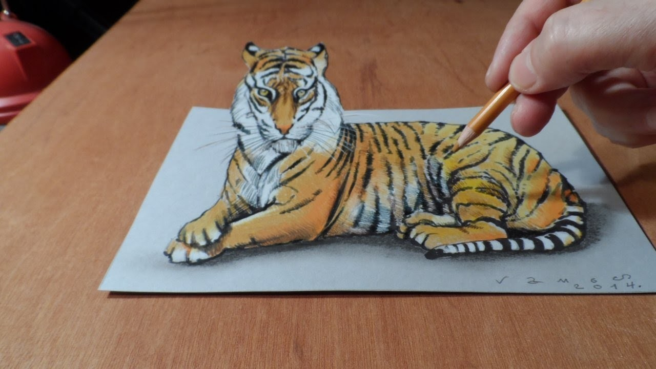 Trick Art, Watch my Draw a 3D Tiger