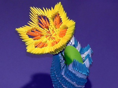 3D origami flower lily (lotus) tutorial