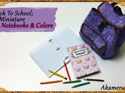 Back To School; Miniature Notebooks & Pencils - Polymer clay.Paper Tutorial