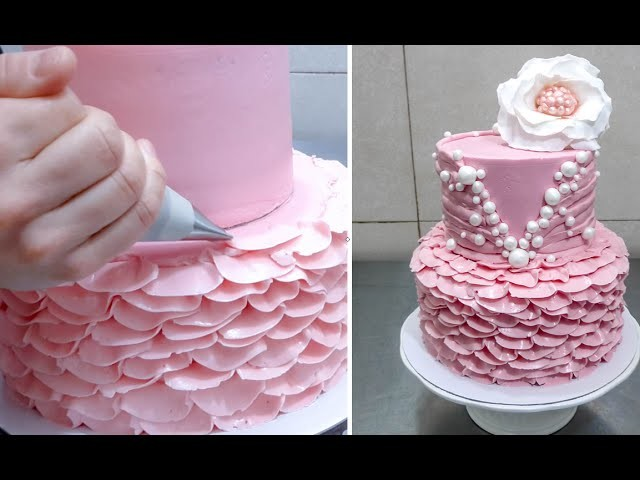 Buttercream Ruffle Cake Decoration - How To by CakesStepbyStep