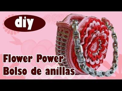 """Cómo hacer una bolsa con anillas: """"Flower Power"""" parte 2"""