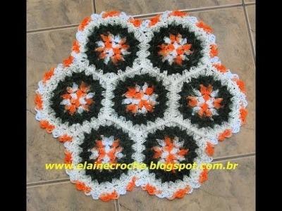CROCHE - TAPETE SQUARE HEXÁGONO FLORES MIX