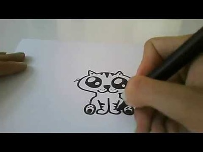 Easy Cartoon Drawing: How To Draw A Cute Cartoon Cat! By: CATH3L1JN3