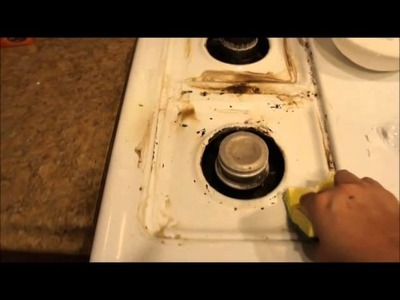 How to clean a stove top with HYDROGEN PEROXIDE AND BAKING SODA to remove GREASE!