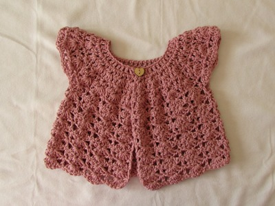 How to crochet a pretty shell stitch cardigan. sweater - baby and girl's sizes