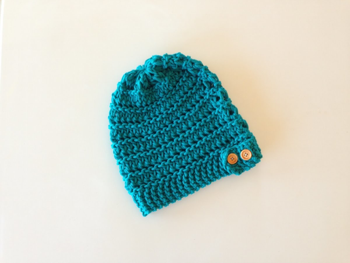 How to Loom Knit a Lace Slouchy Beanie Hat with a Button Band (DIY Tutorial)