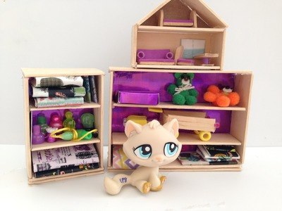 How to make LPS accessories: Bookshelf & Dollhouse & Toys: LPS furniture
