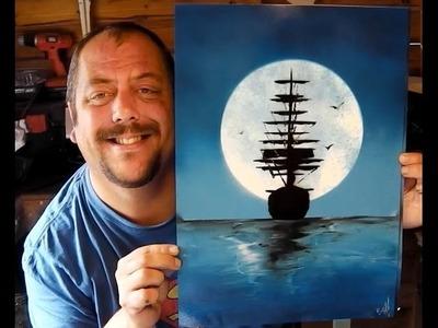 How to Spray Paint Art - Moonlight Ship