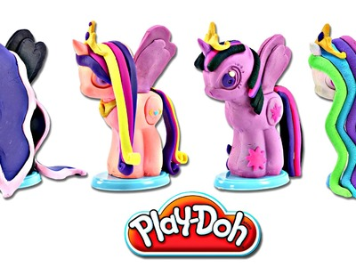 Play doh MY LITTLE PONY Make N' Style Ponies #3 | Princess Celestia, Luna, Twilight Sparkle, Cadance