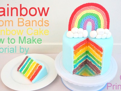 Rainbow Cake Recipe for a Loom Bands Party - How to Bake a Rainbow Cake by Pink Cake Princess