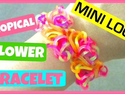 Rainbow Loom Bracelet Tropical Flowers on Mini Loom - Half Flower Burst Variation
