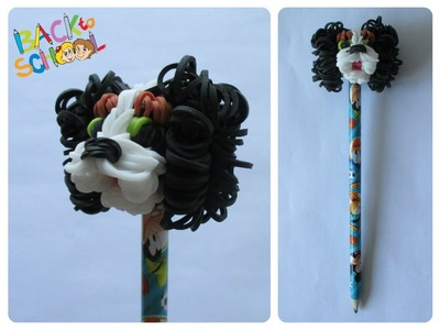 Rainbow Loom king charles cavalier pencil topper Loombicious