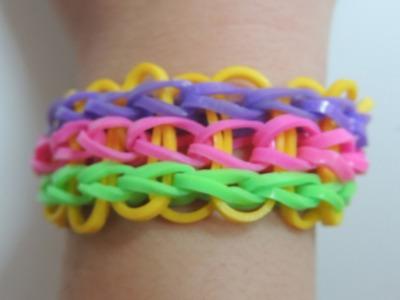 Tutorial  pulsera con telar Rainbow Loom de 3 filas de colores. Bracelet triple single Rainbow Loom